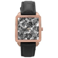 Tropical Pattern Rose Gold Leather Watch  by ValentinaDesign