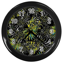 Tropical Pattern Wall Clocks (black) by ValentinaDesign