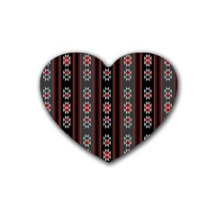Folklore Pattern Rubber Coaster (heart)  by ValentinaDesign