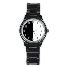 Black And White Stainless Steel Round Watch by Valentinaart