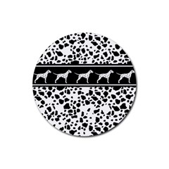 Dalmatian Dog Rubber Coaster (round)  by Valentinaart