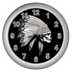 Indian Chef  Wall Clocks (silver)  by Valentinaart