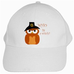 Halloween Orange Witch Owl White Cap by Valentinaart
