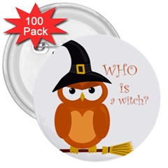 Halloween Orange Witch Owl 3  Buttons (100 Pack)  by Valentinaart