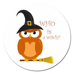 Halloween Orange Witch Owl Magnet 5  (round) by Valentinaart