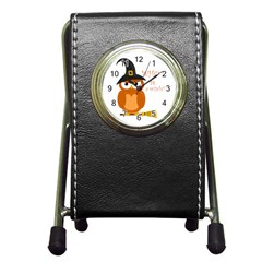 Halloween Orange Witch Owl Pen Holder Desk Clocks by Valentinaart