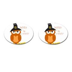 Halloween Orange Witch Owl Cufflinks (oval) by Valentinaart