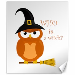 Halloween Orange Witch Owl Canvas 20  X 24   by Valentinaart