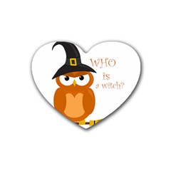Halloween Orange Witch Owl Rubber Coaster (heart)  by Valentinaart