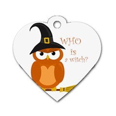 Halloween Orange Witch Owl Dog Tag Heart (one Side) by Valentinaart