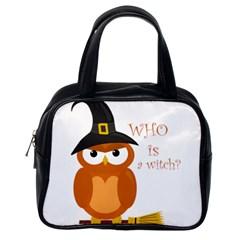 Halloween Orange Witch Owl Classic Handbags (one Side) by Valentinaart