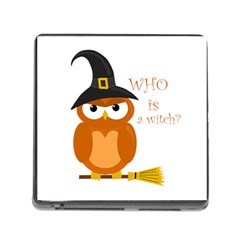 Halloween Orange Witch Owl Memory Card Reader (square) by Valentinaart