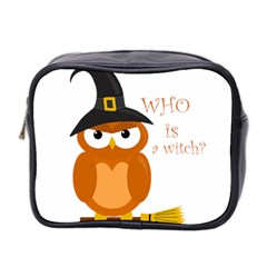 Halloween Orange Witch Owl Mini Toiletries Bag 2 Side by Valentinaart