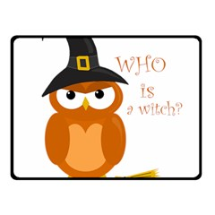 Halloween Orange Witch Owl Fleece Blanket (small) by Valentinaart