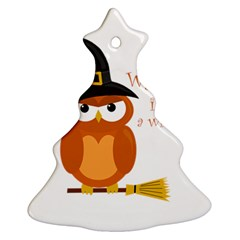 Halloween Orange Witch Owl Christmas Tree Ornament (two Sides) by Valentinaart