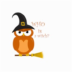 Halloween Orange Witch Owl Large Garden Flag (two Sides) by Valentinaart