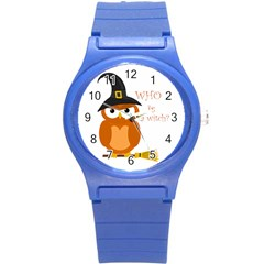 Halloween Orange Witch Owl Round Plastic Sport Watch (s) by Valentinaart