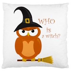 Halloween Orange Witch Owl Large Cushion Case (one Side) by Valentinaart