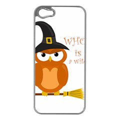 Halloween Orange Witch Owl Apple Iphone 5 Case (silver) by Valentinaart
