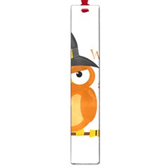 Halloween Orange Witch Owl Large Book Marks by Valentinaart