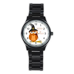 Halloween Orange Witch Owl Stainless Steel Round Watch by Valentinaart