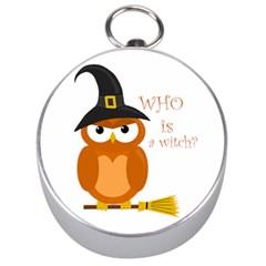 Halloween Orange Witch Owl Silver Compasses by Valentinaart