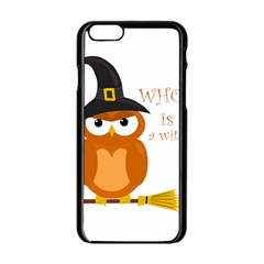 Halloween Orange Witch Owl Apple Iphone 6/6s Black Enamel Case by Valentinaart