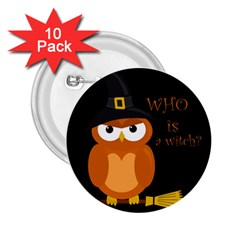 Halloween Orange Witch Owl 2 25  Buttons (10 Pack)  by Valentinaart