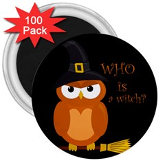 Halloween Orange Witch Owl 3  Magnets (100 Pack) by Valentinaart