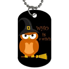 Halloween Orange Witch Owl Dog Tag (two Sides) by Valentinaart