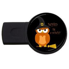 Halloween Orange Witch Owl Usb Flash Drive Round (2 Gb) by Valentinaart