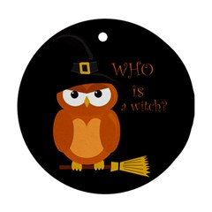Halloween Orange Witch Owl Round Ornament (two Sides) by Valentinaart