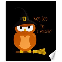 Halloween Orange Witch Owl Canvas 8  X 10  by Valentinaart