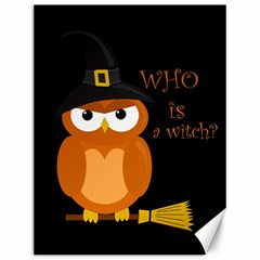 Halloween Orange Witch Owl Canvas 12  X 16   by Valentinaart