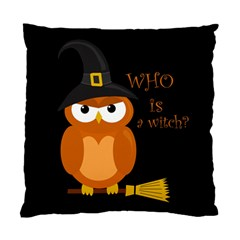 Halloween Orange Witch Owl Standard Cushion Case (two Sides) by Valentinaart
