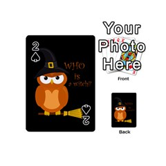 Halloween Orange Witch Owl Playing Cards 54 (mini)  by Valentinaart