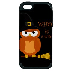 Halloween Orange Witch Owl Apple Iphone 5 Hardshell Case (pc+silicone) by Valentinaart