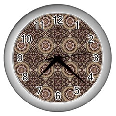 Oriental Pattern Wall Clocks (silver)  by ValentinaDesign
