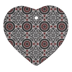 Oriental Pattern Heart Ornament (two Sides) by ValentinaDesign