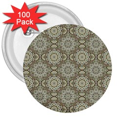 Oriental Pattern 3  Buttons (100 Pack)  by ValentinaDesign