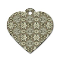 Oriental Pattern Dog Tag Heart (two Sides) by ValentinaDesign