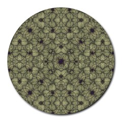 Stylized Modern Floral Design Round Mousepads by dflcprints