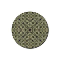 Stylized Modern Floral Design Rubber Coaster (round)  by dflcprints