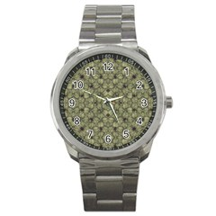 Stylized Modern Floral Design Sport Metal Watch by dflcprints