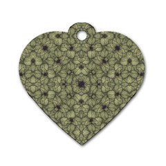 Stylized Modern Floral Design Dog Tag Heart (one Side) by dflcprints