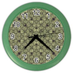 Stylized Modern Floral Design Color Wall Clocks by dflcprints