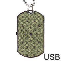 Stylized Modern Floral Design Dog Tag Usb Flash (one Side) by dflcprints