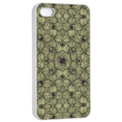 Stylized Modern Floral Design Apple Iphone 4/4s Seamless Case (white) by dflcprints