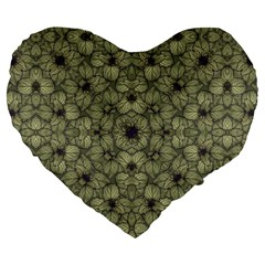 Stylized Modern Floral Design Large 19  Premium Flano Heart Shape Cushions by dflcprints