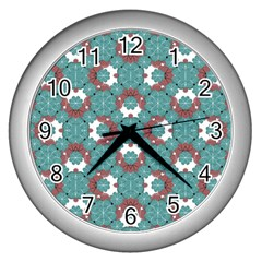 Colorful Geometric Graphic Floral Pattern Wall Clocks (silver)  by dflcprints